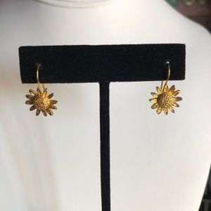 Jewelry - Vintage Gold Tone Sunflower Earrings